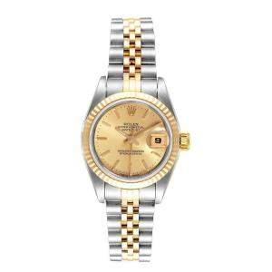 Rolex Champagne 18K Yellow Gold Stainless Steel Datejust 69173 Women's Wristwatch 26MM