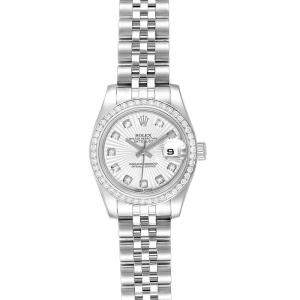 Rolex Silver Diamonds Stainless Steel Datejust 179384 Women's Wristwatch 34 MM
