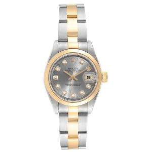Rolex Slate Grey Diamonds 18K Yellow Gold And Stainless Steel Oyster Perpetual Datejust 69163 Women's Wristwatch 26 MM
