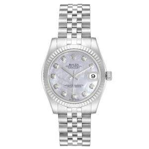 Rolex MOP 18K White Gold and Stainless Steel Diamond Datejust 178274 Women's Wristwatch 31MM