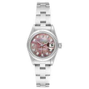 Rolex MOP 18K White Gold and Stainless Steel Diamond Datejust 79174 Women's Wristwatch 26MM