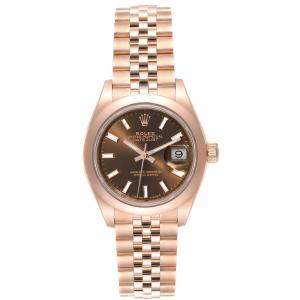 Rolex Chocolate 18K Rose Gold President 279165 Women's Wristwatch 28MM