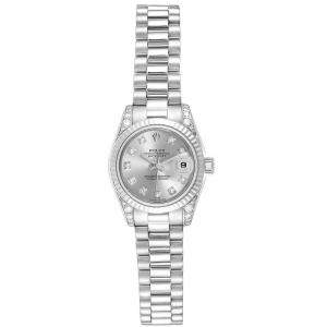 Rolex Silver 18K White Gold and Diamond President Crown Collection 179239 Women's Wristwatch 26MM