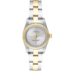 Rolex Silver 18K Yellow Gold and Stainless Steel Oyster Perpetual 76243 Women's Wristwatch 24MM