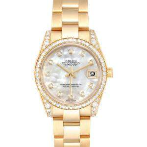 Rolex MOP 18K Yellow Gold and Diamond President 178158 Women's Wristwatch 31MM