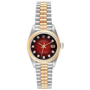 Rolex Red 18K Yellow Gold 18K White Gold 18K Rose Gold and Diamond President Tridor 69179 Women's Wristwatch 26MM
