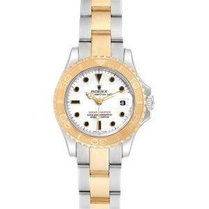 Rolex White 18K Yellow Gold and Stainless Steel Yachtmaster 69623 Women's Wristwatch 29MM