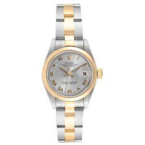 Rolex Slate 18K Yellow Gold and Stainless Steel Datejust 69163 Women's Wristwatch 26MM