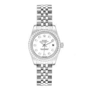 Rolex White Diamonds 18k White Gold Stainless Steel Datejust 179384 Women's Wristwatch 26 MM