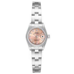 Rolex Salmon 18K White Gold Stainless Steel Datejust 79174 Women's Wristwatch 26 MM