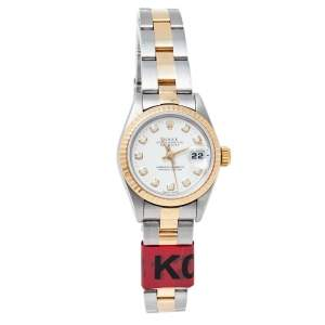 Rolex White 18K Yellow Gold Diamond and Stainless Steel Datejust 69173 Women's Wristwatch 26MM