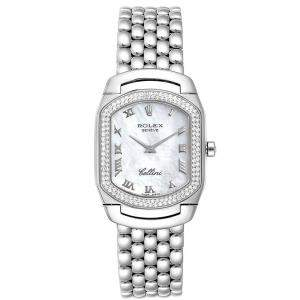Rolex MOP Diamonds 18K White Gold Cellini Cellissima 6691 Women's Wristwatch 24x35 MM