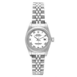 Rolex White 18K White Gold Stainless Steel Datejust 79174 Women's Wristwatch 26 MM