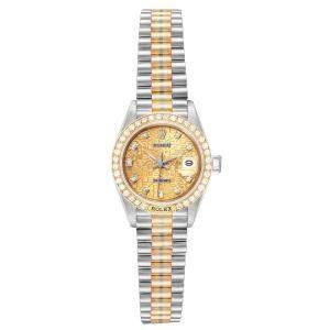 Rolex Bronze Diamonds 18K White Gold Rose Gold And Yellow Gold Tridor President 69179 Women's Wristwatch 26 MM