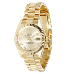 Rolex Champagne 18K Yellow Gold Diamond Datejust 179178 Women's Wristwatch 26MM