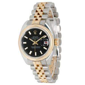 Rolex Black 18K Yellow Gold and Stainless Steel Datejust 179163 Women's Wristwatch 26MM
