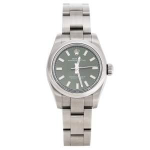 Rolex Olive Green Stainless Steel Oyster Perpetual 176200OVSO Women's Wristwatch 26 mm