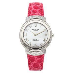 Rolex MOP Diamonds 18K White Gold Cellini Cellissima 6682/9 Women's Wristwatch 33 MM