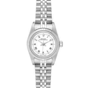 Rolex White Stainless Steel Oyster Perpetual 76030 Women's Wristwatch 24MM