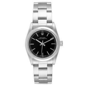Rolex Black Stainless Steel Midsize Baton 77080 Women's Wristwatch 31MM