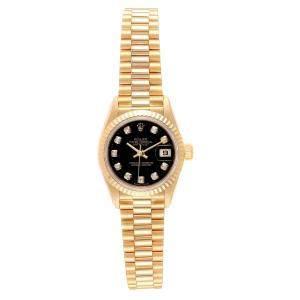 Rolex Black 18K Yellow Gold Diamond President Datejust 79178 Women's Wristwatch 26MM