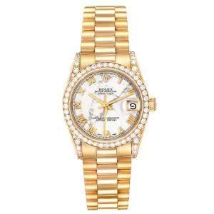 Rolex Marble 18K Yellow Gold Diamond President Datejust 68158 Women's Wristwatch 31MM