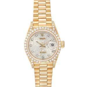 Rolex Diamond 18K Yellow Gold President Datejust Diamond 69178 Women's Wristwatch 26MM