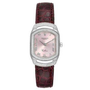 Rolex Rose Diamonds 18K White Gold Cellini Cellissima 6693 Women's Wristwatch 25 x 35 MM