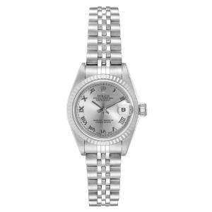 Rolex Silver 18K White Gold And Stainless Steel Datejust 79174 Women's Wristwatch 26 MM