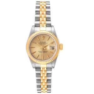 Rolex Champagne Tapestry 18K Yellow Gold Datejust 69173 Women's Wristwatch 26 MM