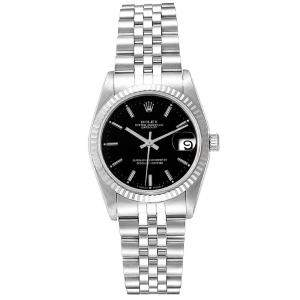 Rolex Black 18K White Gold And Stainless Steel Datejust 68274 Women's Wristwatch 31 MM