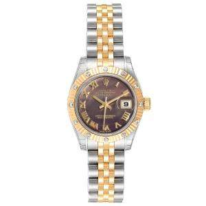 Rolex Black MOP Diamonds 18K Yellow Gold And Stainless Steel 179313 Women's Wristwatch 26 MM