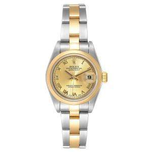 Rolex Champagne 18K Yellow Gold And Stainless Steel Datejust 1601 Women's Wristwatch 26 MM