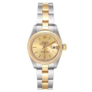 Rolex Champagne 18K Yellow Gold Stainless Steel Datejust 69173 Women's Wristwatch 26 MM