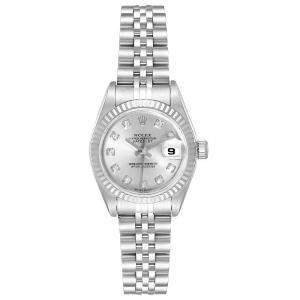 Rolex Silver Diamonds 18k White Gold And Stainless Steel Datejust 79174 Women's Wristwatch 26 MM