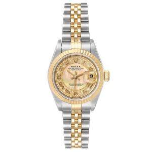 Rolex Champagne Decorated MOP 18K Yellow Gold And Stainless Steel 79173 Women's Wristwatch 26 MM