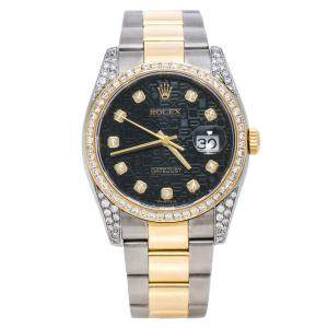 Rolex Black Jubilee 18K Yellow Gold and Stainless Steel Diamond Datejust 116233 Women's Wristwatch 36 mm