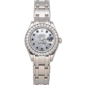 Rolex MOP Sapphire And Diamonds 18K White Gold Pearlmaster Datejust 80299 Women's Wristwatch 29 MM