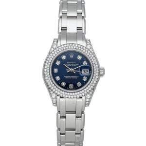 Rolex Blue Diamonds 18K White Gold Pearlmaster Datejust 80359 Women's Wristwatch 29 MM