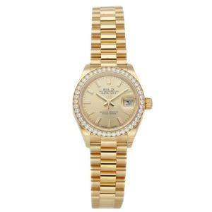 Rolex Champagne Diamonds 18K Yellow Gold Datejust 279138RBR Women's Wristwatch 28 MM