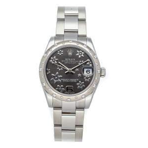 Rolex Rhodium Diamonds 18K White Gold Datejust 178344 Women's Wristwatch 31 MM