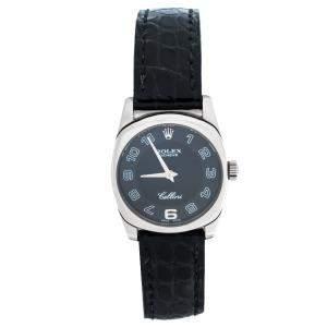 Rolex Black 18K White Gold Crocodile Leather Cellini Danaos 6229/9 Women's Wristwatch 25 mm