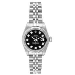 Rolex Black Diamonds 18k White Gold And Stainless Steel Datejust 79174 Women's Wristwatch 26 MM