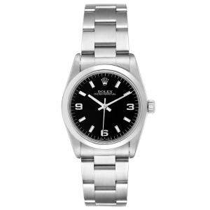 Rolex Black Stainless Steel Oyster Perpetual Automatic 67480 Women's Wristwatch 31 MM