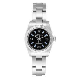 Rolex Black 18K White Gold And Stainless Steel Oyster Perpetual 176234 Card Women's Wristwatch 26 MM