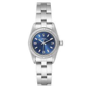 Rolex Blue Stainless Steel Oyster Perpetual 67230 Women's Wristwatch 24 MM