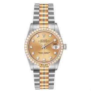 Rolex Bronze Diamonds 18K Yellow Gold/ White Gold/ Rose Gold President Tridor 68149 Women's Wristwatch 31 MM