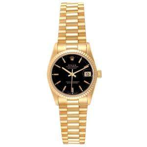 Rolex Black 18K Yellow Gold Datejust President 68278 Women's Wristwatch 31 MM