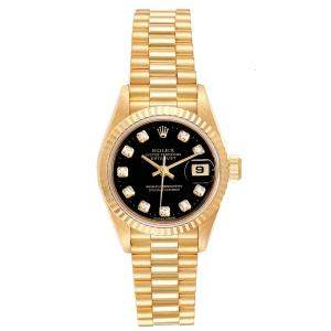 Rolex Black Diamonds And 18K Yellow Gold Datejust President 69178 Women's Wristwatch 26 MM