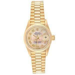 Rolex Champagne MOP 18K Yellow Gold Datejust President 69178 Women's Wristwatch 26 MM